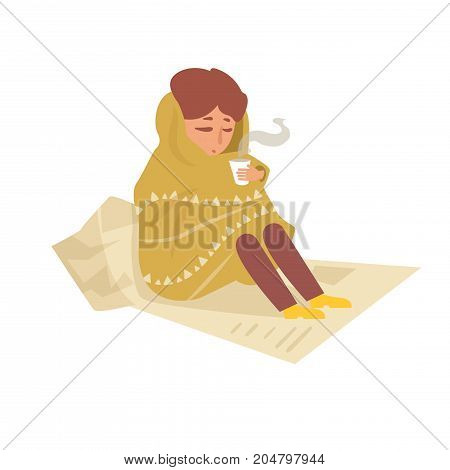 Tramp sitting on the newspapers. Vector. Cartoon. Isolated art on white background. Flat.