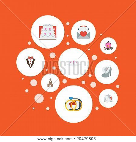 Flat Icons Engagement, Building, Card And Other Vector Elements