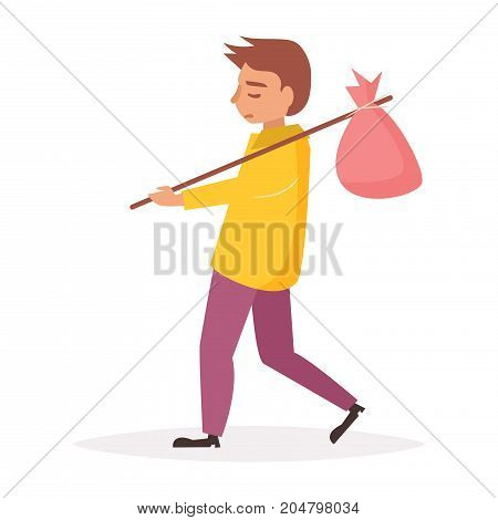 Homeless person with bag on stick. Vector. Cartoon. Isolated art on white background. Flat.