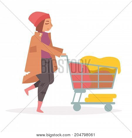 Hobo with a grocery cart. Vector. Cartoon. Isolated art on white background. Flat.