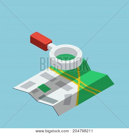 Vector isometric illustration of map with magnifier icon. Travel location sign