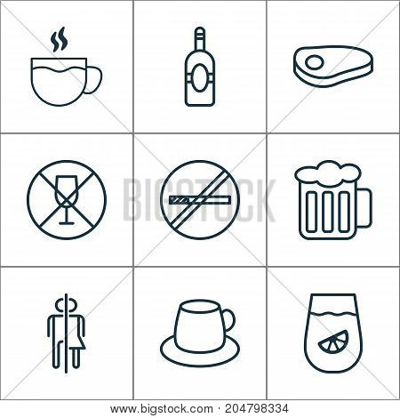 Eating Icons Set. Collection Of Steak, Stop Smoke, Alcohol Forbid And Other Elements