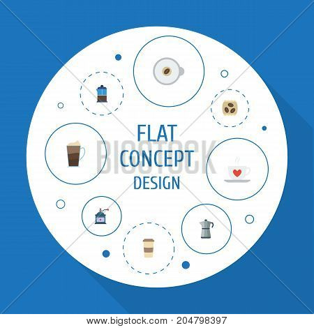 Flat Icons Moka Pot, Cappuccino, French Press And Other Vector Elements