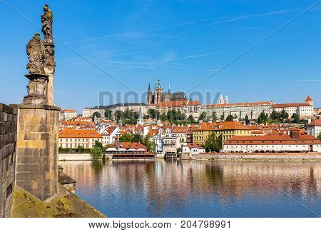 View of Vltava river and St.Vitus Cathedral in Prague, Czech Republic