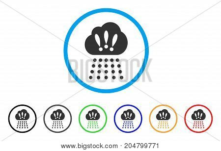 Storm Cloud rounded icon. Style is a flat storm cloud grey symbol inside light blue circle with black, gray, green, blue, red, orange variants. Vector designed for web and software interfaces.
