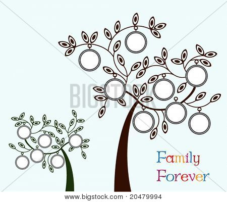 Family tree - two version - one with 6 frames , one with 8 frames