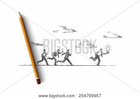 The best idea concept. Hand drawn people running with luminous light bulb. Businessman makes a great solution isolated vector illustration.
