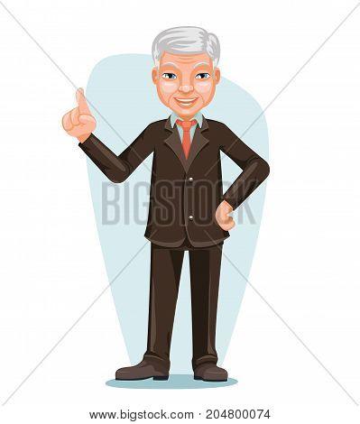 Elderly Asian Businessman Chinese Japanese Vietnamese Male Employee Boss Hand Forefinger Up Cartoon Design Character Vector Illustration