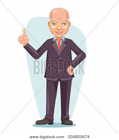 Old Wise Man Elderly Asian Businessman Chinese Japanese Vietnamese Male Employee Boss Hand Forefinger Up Cartoon Design Character Vector Illustration