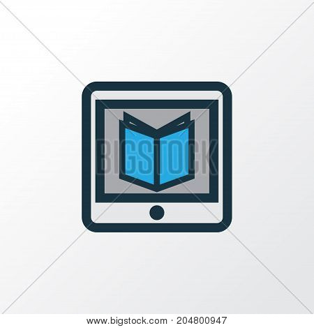 Premium Quality Isolated E-Reader Element In Trendy Style.  Learning Colorful Outline Symbol.