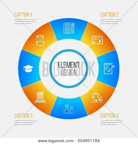 Education Icons Set. Collection Of Home Work, Chemical, Certificate And Other Elements