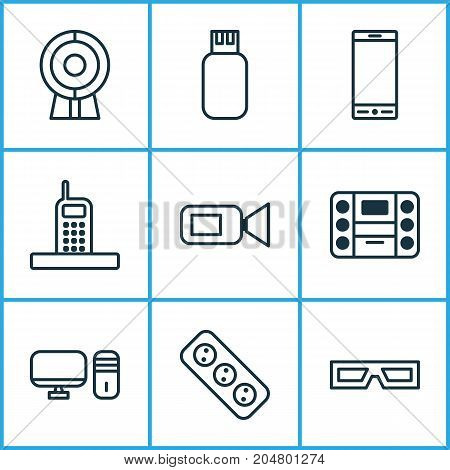 Gadget Icons Set. Collection Of Extension Cord, Spectacles, Usb And Other Elements