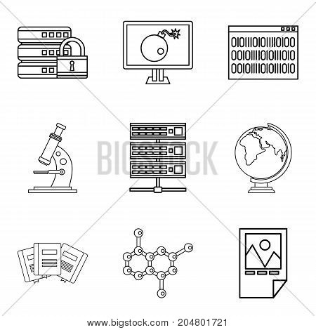Volume icons set. Outline set of 9 volume vector icons for web isolated on white background