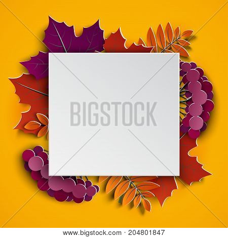 Autumn floral paper cut frame and paper colorful tree leaves on yellow background. Autumnal design for fall season sale banner poster flyer web site paper craft style vector illustration