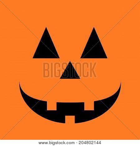 Halloween Poster with pumpkin cheerful smile. pumpkin background