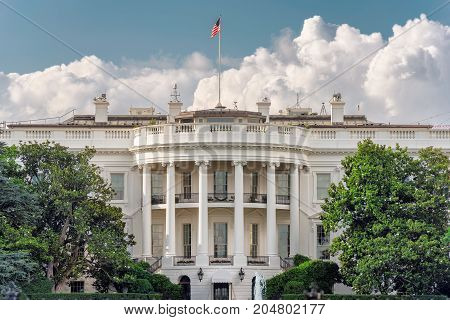 The White House in Washington DC with cloudy day.
