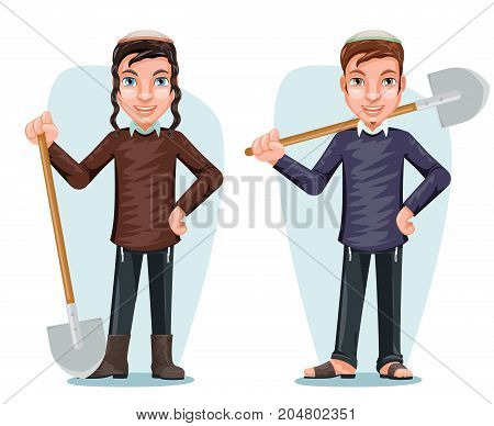Settler Israel Jew Free Zionist Farmer Cartoon Male Character Design Vector Illustration