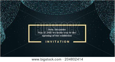 Invitation template for the event. Vector illustration. Background open curtain.