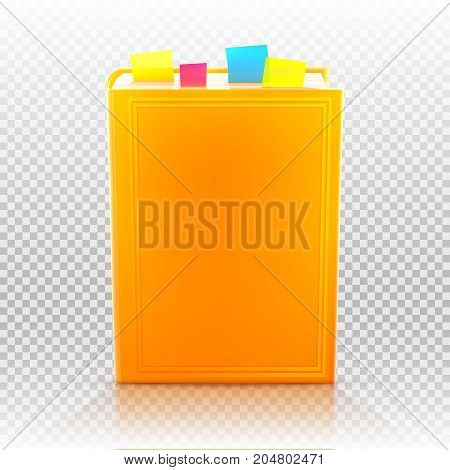 Bright colored realistic book with bookmarks and blank cover isolated. Design template. Vector illustration.
