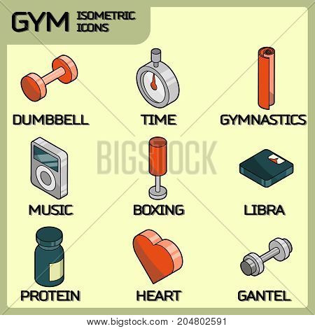 Gym color outline isometric icons. Vector illustration, EPS 10