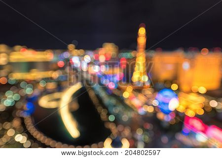 Blurred background of Las Vegas strip at night.