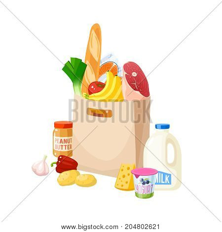 Grocery bag dairy meat fish potato veggies cheese and baguette. Vector illustration cartoon flat icon isolated on white.