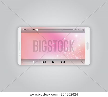 Realistic white smartphone mockup isolated on gray, vector illustration. Video player landscape mode, pink screen, sparkles. Media player network template design. Mobile video player interface.