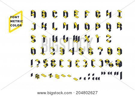 Modern technical display font Metric. Set all letters and numbers with characters. Vector illustration