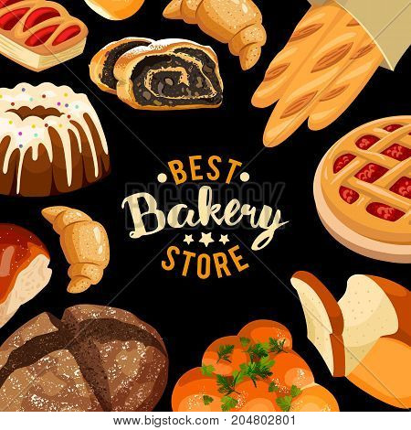 Bakery shop vector frame. Baked bread products wheat, rye bread loafs, bagels, sliced bread toasts, croissant, bun, cherry pie, cake with icing.