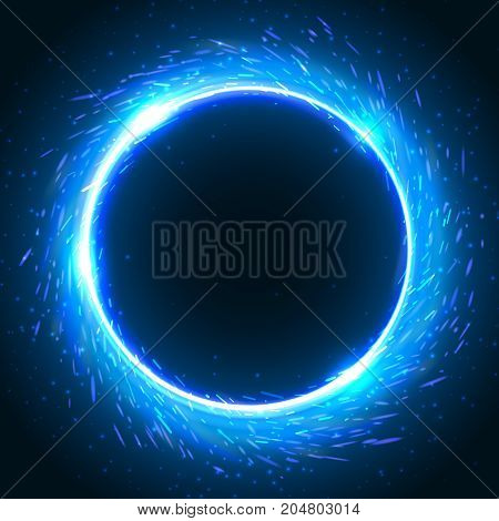 Realistic round blue flame frame vector template illustration on black background