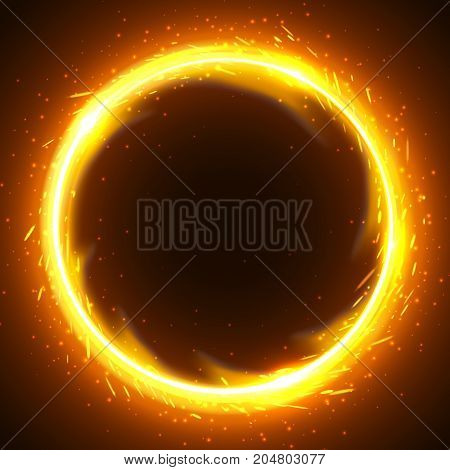 Realistic round light fire flame frame vector template illustration on black background