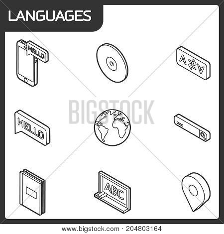 Languages outline isometric icons. Set of modern linear icons on the topic of learning a foreign language. Vector logos for schools, colleges and universities.