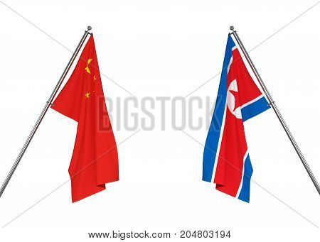 China flag and North Korea flag on white background with clipping path. 3D illustration