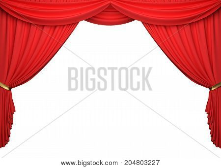 Open red curtains on white background with clipping path. 3D illustration