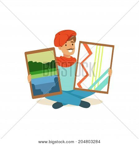 Smiling male painter artist character with mustache wearing red beret sitting on the floor holding his paintngs vector Illustration on a white background