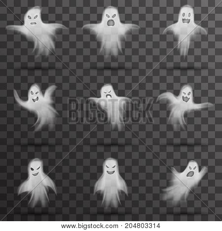 Halloween scary ghost isolated template transparent night background vector illustration