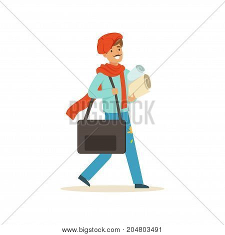 Smiling male painter artist character wearing red beret case walking with paper rolls and briefcase vector Illustration on a white background