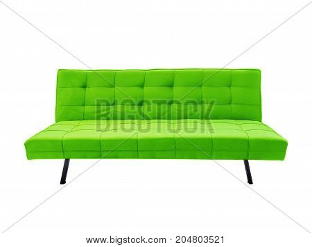 Modern green fabric sofa isolated on white background with clipping path.