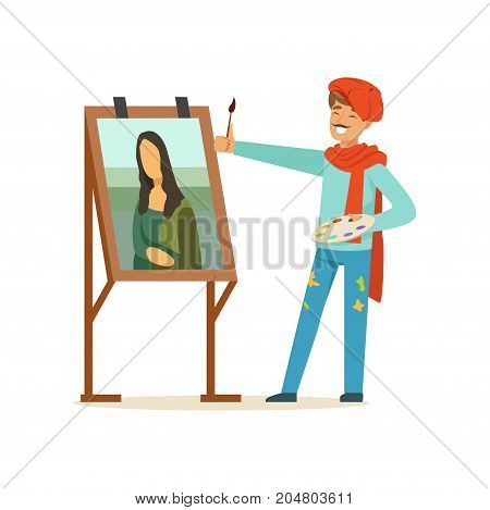 Male painter artist character with mustache wearing red beret painting female portrait with brush vector Illustration on a white background