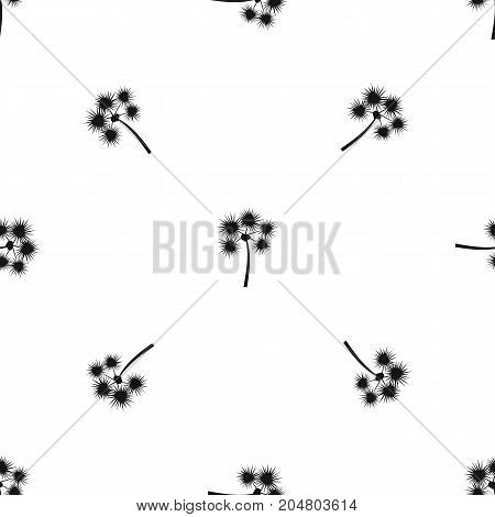 Spiny tropical palm tree pattern repeat seamless in black color for any design. Vector geometric illustration