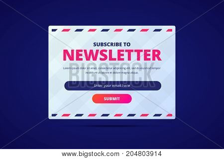 Subscribe to newsletter card with email input and submit button. Vector template with envelope on background.
