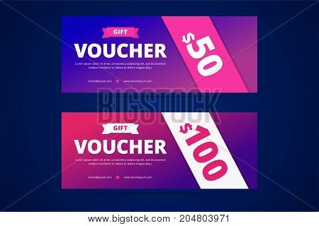 Gift vouchers with modern gradient style for special offers and presents. Vector template for coupon and certificate.