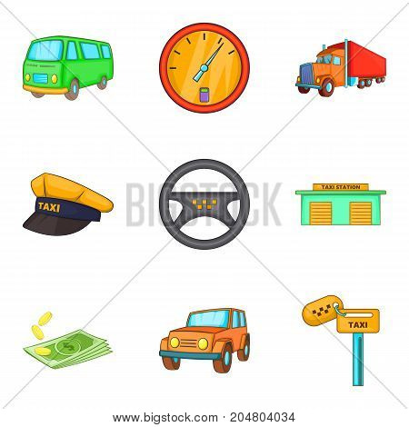 Excellent driver icons set. Cartoon set of 9 excellent driver vector icons for web isolated on white background