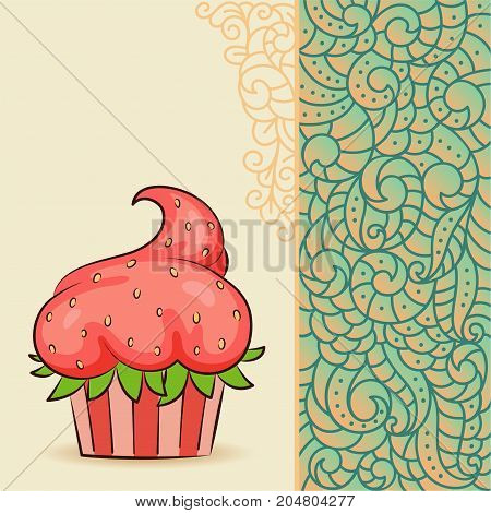 Sweet cupcake look like strawberry on card with doodle boho pattern. Ideal for posters, advertisements, announcements, labels, banner, menu for cafe and restaurants. Vector illustration