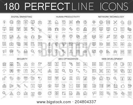 180 modern thin line icons set of digital marketing, human productivity, network technology, cyber security, SEO optimization, web development isolated