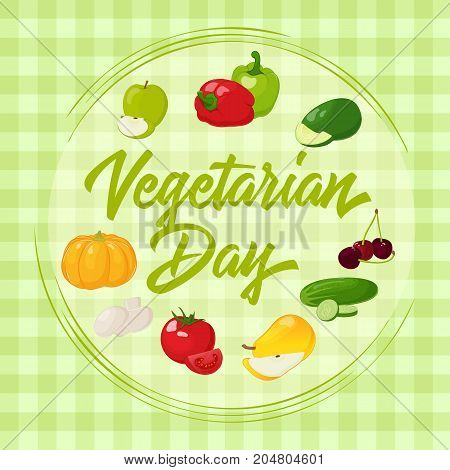 Fresh and tasty vegetables for your design. Background for World Vegetarian Day in simple cartoon style. Vector illustration. Holiday Collection.