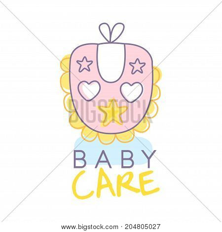 Baby care logo design, emblem with pink baby bib, label for baby products store, toys shop and any other children projects colorful hand drawn vector Illustration on a white background