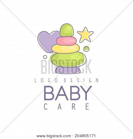 Baby care logo design, emblem with colorful pyramid toy, label for baby products store, toys shop and any other children projects vector Illustration on a white background