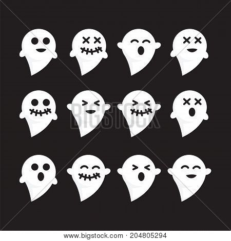 Pattern set emotions white ghost on black bacground vector image. Varied emotions pattern funny white ghost halloween vector