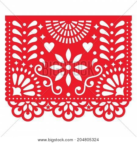 Mexican paper decorations - Papel Picado vector design, traditional fiesta banner inspired by garlands in Mexico